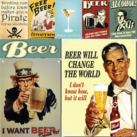Beer Sign Metal Wall Plaque Tin Alocohol Vintage Pub Bar Wall Decor Retro Signs
