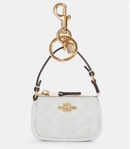 NEW Coach Mini Nolita Bag Charm in Signature Canvas Chalk 4310