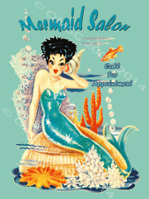 Marmaid Salon Cove Mythical Fantasy Ocean Lore Feminine Decor Metal Sign