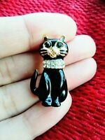 Black Cat Kitty Kitten BROOCH Pin Broach Badge Diamante Rhinestone Ladies Gift