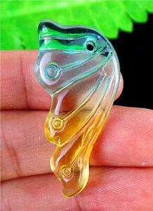 38x18x6mm Green&yellow Czech Lampwork Glass Butterfly Wing Pendant Bead BT98559