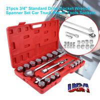 """21Pcs Drive Socket Set Jumbo Ratchet Wrench Extension METRI 3/4""""  Tool Kit"""