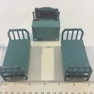 1920s TOOTSIE TOY METAL DOLLHOUSE BEDROOM BLUE BEDS & DRAWER FURNITURE PARTS LOT