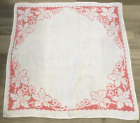 Vintage Small Tablecloth, Leaf Cross Stitch Embroidery, Linen, Red & White