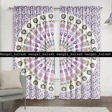 Indian peacock cotton mandala window wall hanging home door valances curtain set