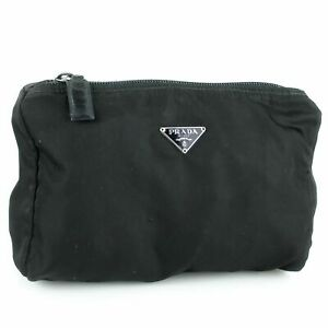 PRADA Logos Tessuto Nylon Cosmetic Pouch Purse Black