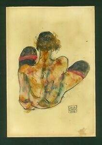 EGON SCHIELE - watercolor on original paper of 10's - Viennese secession!
