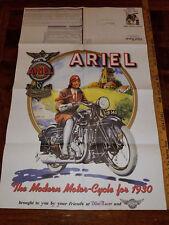VINTAGE 1930 ARIEL BRITISH MOTORCYCLE DOMI RACER PRICE POSTER 34 X 22 NEW