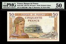 France 50 Francs 1940 Pick-85b About UNC PMG 50 Rare