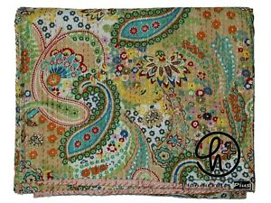 Handmade Blanket Indian Design Quilts Throw Brown Color Cotton Kantha Bedspreads