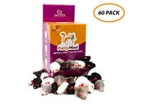 60 Furry Mice with Catnip & Rattle Sound Made of Real Rabbit Fur Cat Toy Mouse