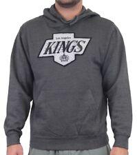 Los Angeles Kings Majestic NHL Vintage Felt Tek Patch Hooded Charcoal Sweatshirt