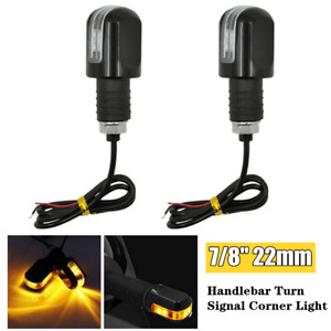 Pair 22mm Motorcycle Turn Signal LED Light Indicator Blinker Handle Bar End Lamp