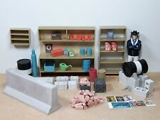 1:18 scale diorama accessories: workbench, oil barrels, shelf, pallet, blocks