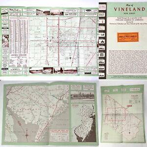 Vintage 1950's MAP of VINELAND NJ Chamber Of Commerce CS HAMMOND W/ Ads