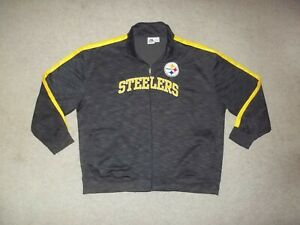 NWOT Rare sewn Pittsburgh Steelers Majestic Polyester Track Zip Up 4XL Jacket