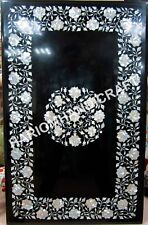 4'x3' Marble Table Tops Black Dining Table Handmade Mother Of Pearl Inlaid E543A