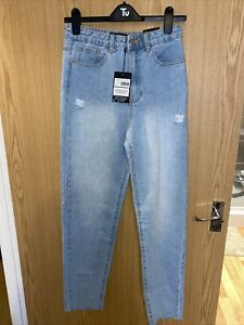 Missguided Riot Highwaisted Distress Mom Jeans Bnwt Size 8