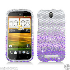 HTC ONE SV Cricket Boost Diamond Hard Snap-On Case Cover Purple Silver Waterfall