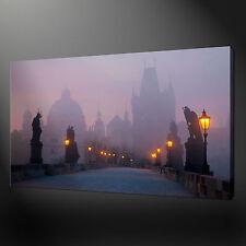 "FOGGY CHARLES BRIDGE PRAGUE CANVAS WALL ART PICTURES PRINTS 20""x16"" FREE UK P&P"