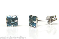 9ct White Gold Square London Blue Topaz Studs earrings Made in UK Gift Boxed
