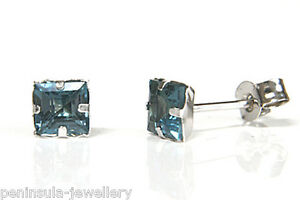 9ct White Gold London Blue Topaz Studs Square earrings Made in UK Gift Boxed