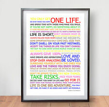 LIFE MANIFESTO POSTER - Motivational Quote Picture Wall  Print Gym Art  - Colour