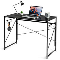 Costway Folding Computer Desk Writing Study Table for Home & Office Black