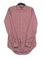 SID MASHBURN Gingham Check  Red White Cotton Long Sleeve Casual Shirt Sz M   G*
