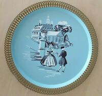 Vintage Hollywood Regency Tole Tray blue gold Colonial Scene rare Nashco