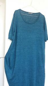 COS knit linen t shirt jumper RELAXED dress blue melange, M