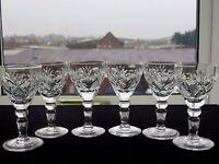 """ROYAL BRIERLEY CRYSTAL""""ELIZABETH"""" PATTERN LIQUEUR/PORT GLASSES SET OF 6."""
