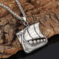 Men's Stainless Steel Norse Viking Pirate Boat/Ship Pendant Necklace Amulet Gift