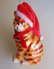 Kurt Adler Glass Christmas Ornament American Shorthair Cat Santa Hat Pet Parade