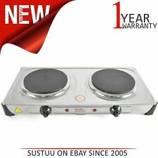 Lloytron KitchenPerfected 2000w Double Induction Cast Iron Hotplate¦Stain.Steel