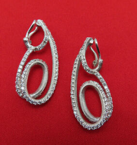 Judith Ripka Sterling Silver Clip On Earrings CZ Crystal Dangles Signed 741a