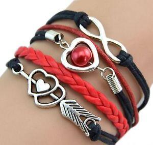 Damen Armband Leder Wickelarmband Freundschaft Lederarmband Herz Geschenk Farben