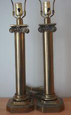 Pair 2 Paul Hanson Brass Column Neoclassical Corinthian Table Lamp Square Base