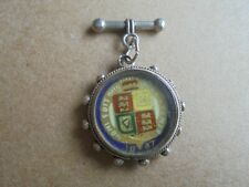 More details for antique queen victoria 1887 enamelled silver sixpence on silver mount ref 119