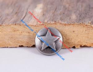50X Vintage Silver Round Star Stud Rivet Concho For Bag Shoes Belt Leathercraft