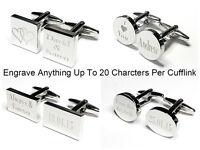 Silver Engraved Custom Cufflinks Cuff Links Personalised Gift Wedding Best Man