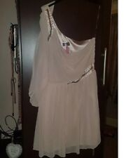 lipsy Size 12 Nude one shoulder Embellished short style dress Floaty Holiday