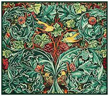 Green Acanthus Vine and Birds William Morris Counted Cross Stitch Pattern