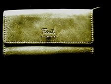 Women's FOSSIL Green Leather Wallet Billfold Organizer Credit Card-Check Book
