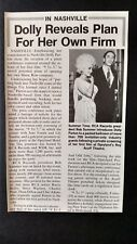 DOLLY PARTON..Reveals Plan For Her Own Firm 1980 Original Print Promo Pic/Text