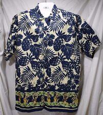 Ralph Lauren Chaps Men's Large Hula Girls Short Sleeve Wood Button-up    A-9 036