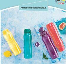 Tupperware Aqua Safe 1 Ltr Slim Fliptop Bottles- Set of 4 with fliptop caps-New-