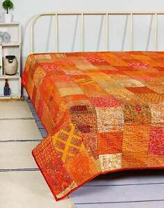 Vintage Patchwork  Silk Embroidery Blanket Twin Size Indian Kantha Quilt Throw