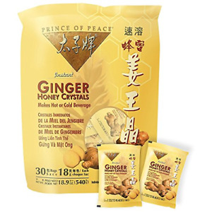 Prince of Peace Instant Ginger Honey Crystals, 30 ct Bags - 18 g Sachets, Pack 2