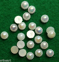 50 AB Ivory Pearl sunflower Beads Wedding Cards Embellishments 10mm - F6